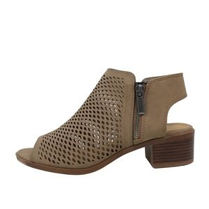 Shoes - RESTOCKED!!! Taupe Peep Toe Perforated Zipper Boot